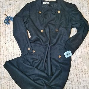 Nina Ricci Black Wool Suit Dress Brass Buttons 16